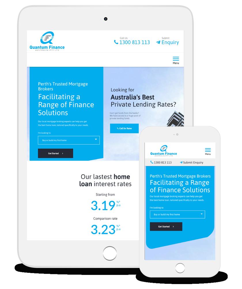 Quantum Finance's website on Apple devices.