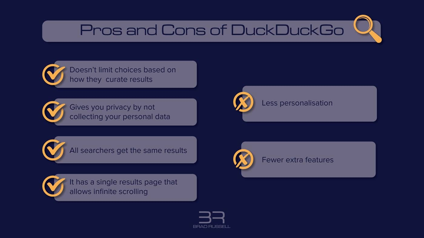 Pros and cons of DuckDuckGo